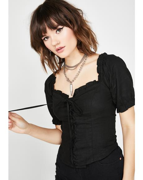 Tragic New Luv Lace Up Top