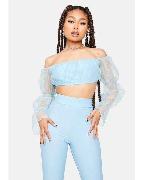 Having A Ball Off The Shoulder Organza Top Set