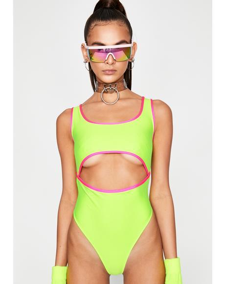 Rave Alien Cut Out Bodysuit