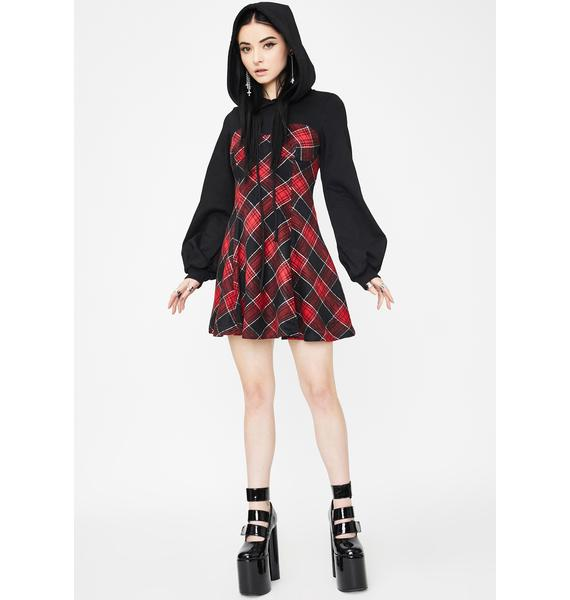 Punk Rave Fake Two Piece Capped Dress
