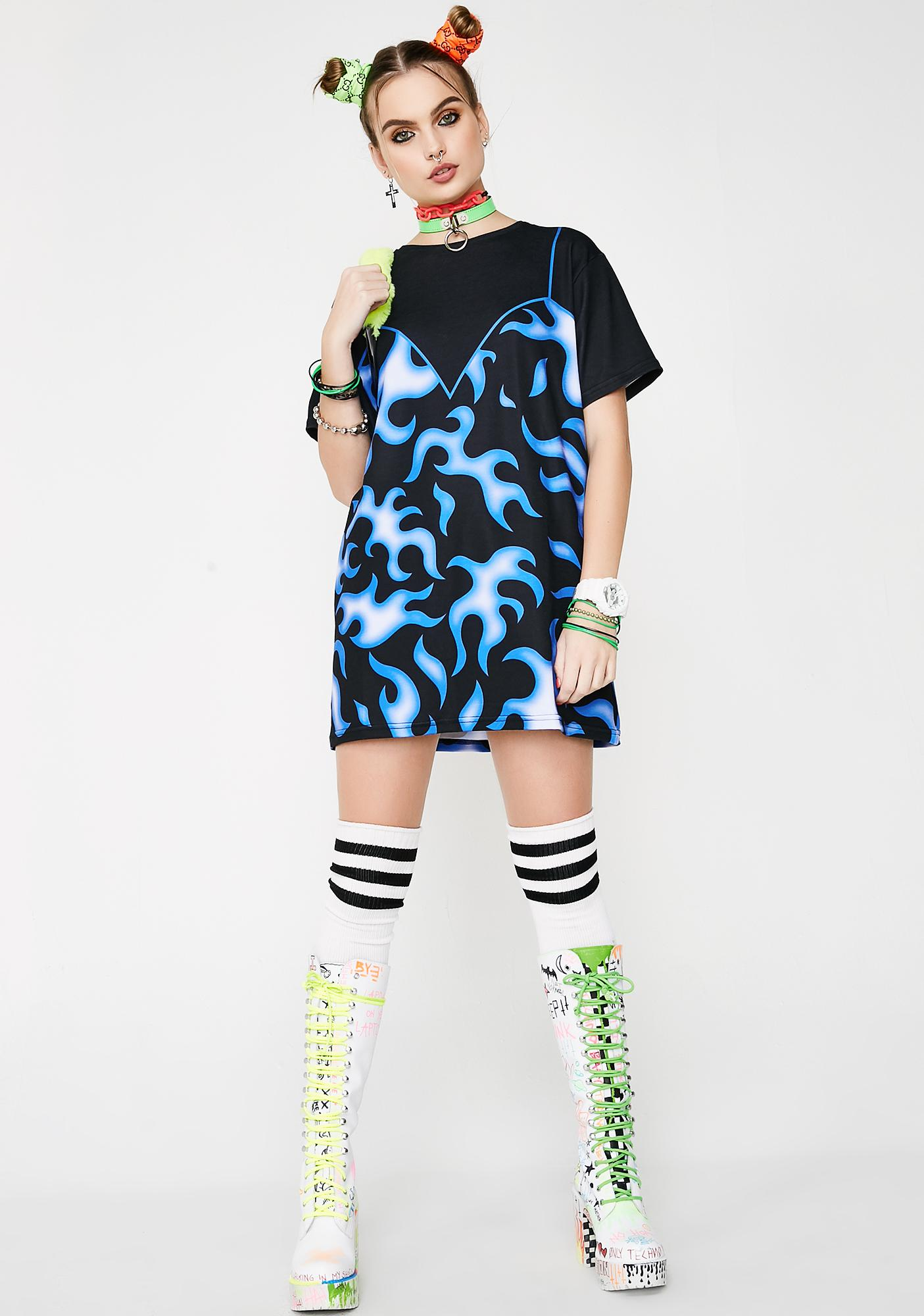 Sugarpills Blue Flames T-Shirt Dress