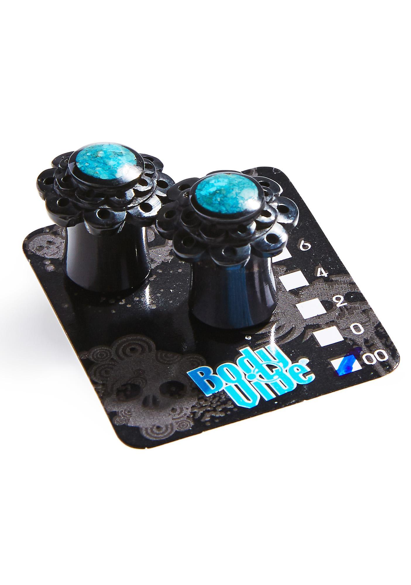 Black Flower Double Flare Plugs