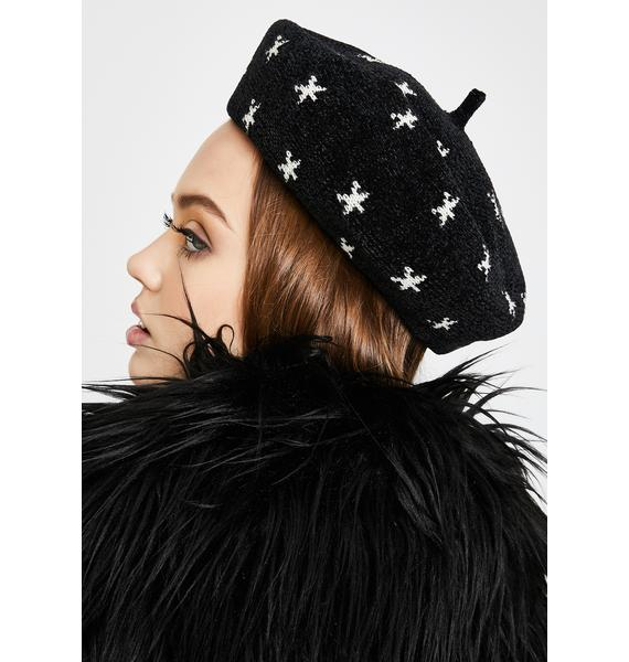 Midnight Stars Above Knit Beret