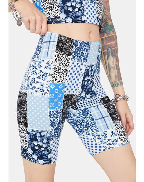 Bad Girl Patchwork Biker Shorts