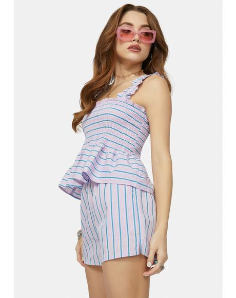 This Is Me Trying Striped Shorts