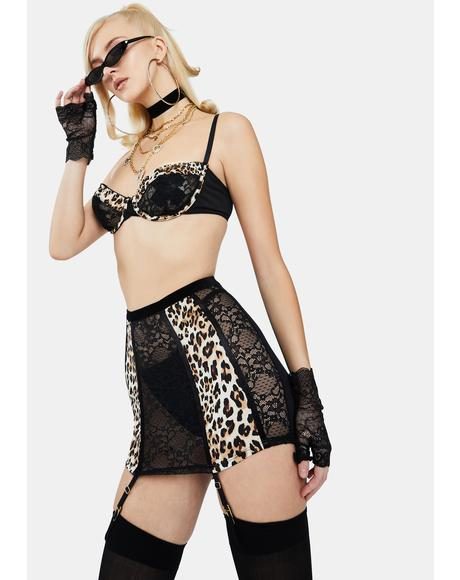 Forever Fierce Lace Cheetah Print Garter Lingerie Set