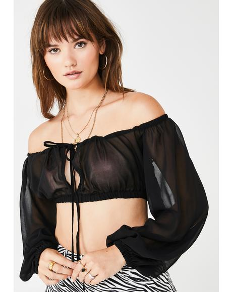 Dark Catchin' Flights Peasant Top