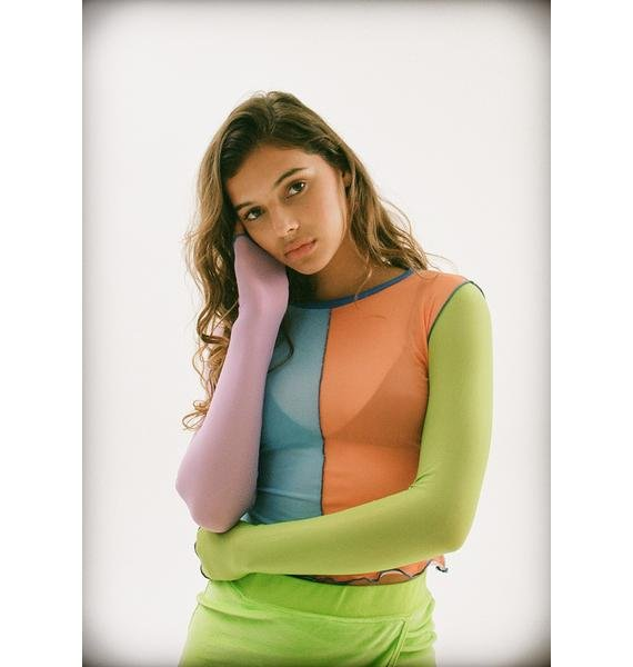dELiA*s by Dolls Kill Twisted Sister Colorblock Top