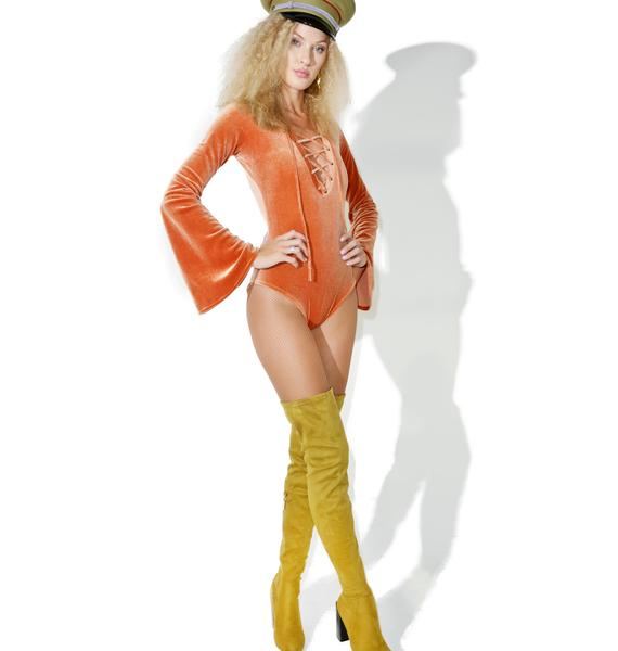 Homecooked Karma Bell Sleeve Lace-Up Bodysuit