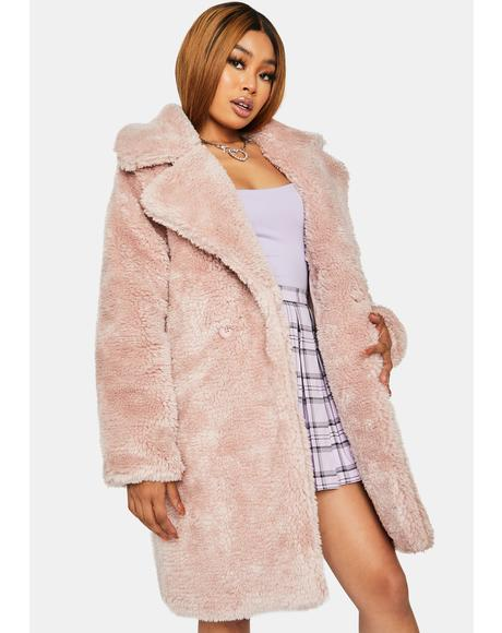 Mauve Total Chillout Faux Fur Coat