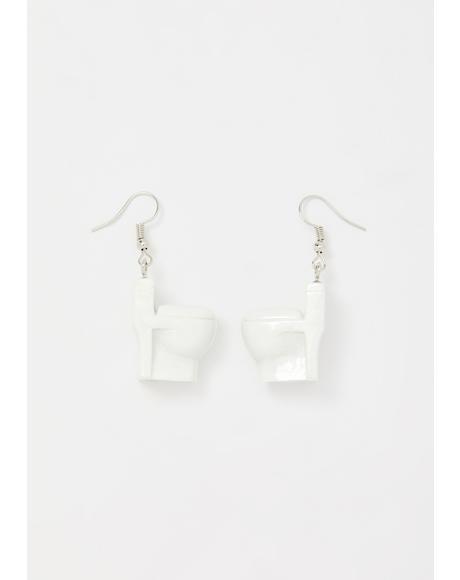 Porcelain Throne Toilet Earrings