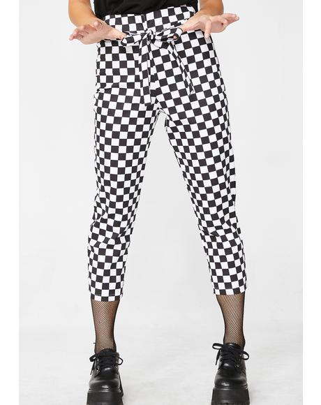 Cropped Checkered Tie Trousers