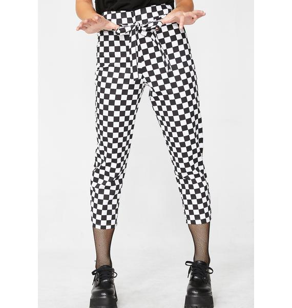 LOVE TOO TRUE Cropped Checkered Tie Trousers
