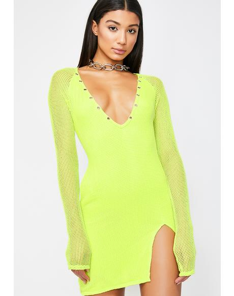 Neon Glow Henley Dress