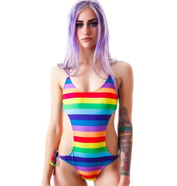 Wildfox Couture 70's Rainbow Monokini