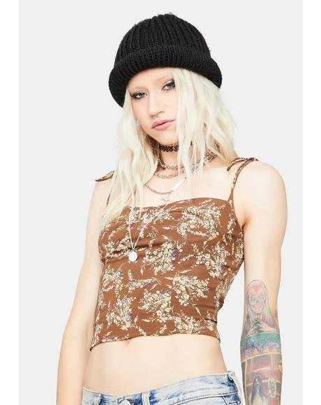 Mocha Pretend Ur Mine Floral Crop Top