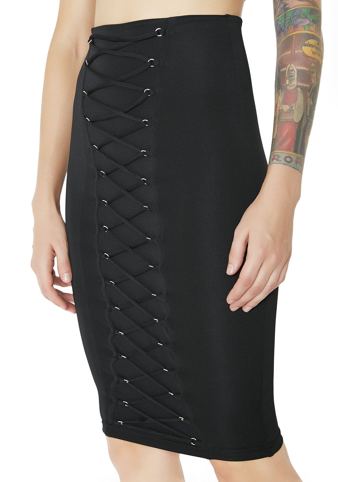Black Lace-Up Pencil Skirt
