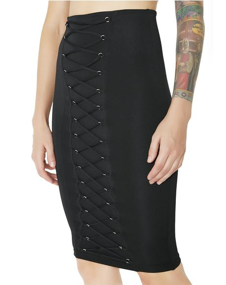 9 Lives Lace-Up Pencil Skirt