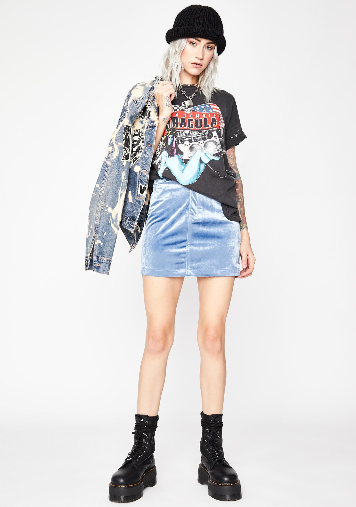 Sky Velvet Fog Mini Skirt