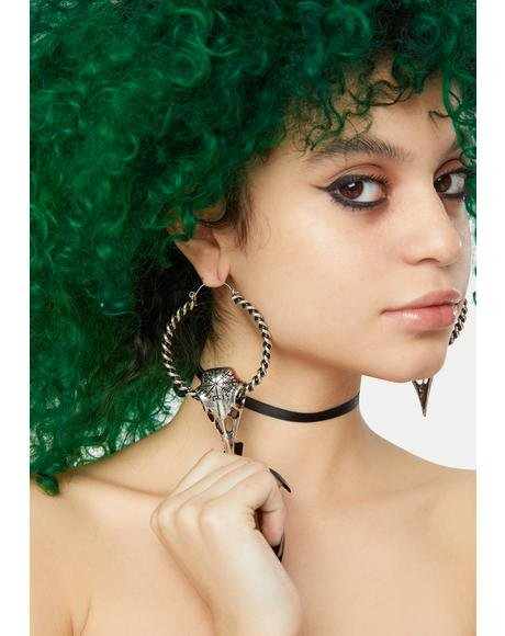 Powers Beyond Skull Hoop Earrings