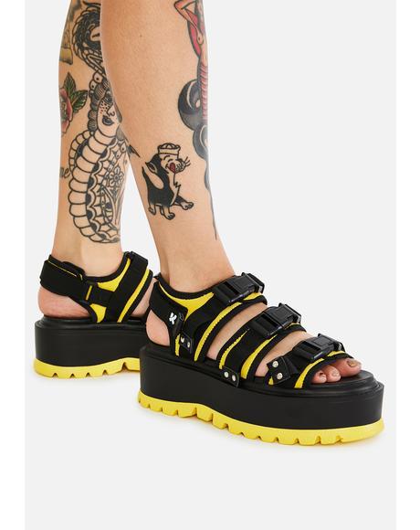 Yellow Asteroid Matrix Platform Sandals