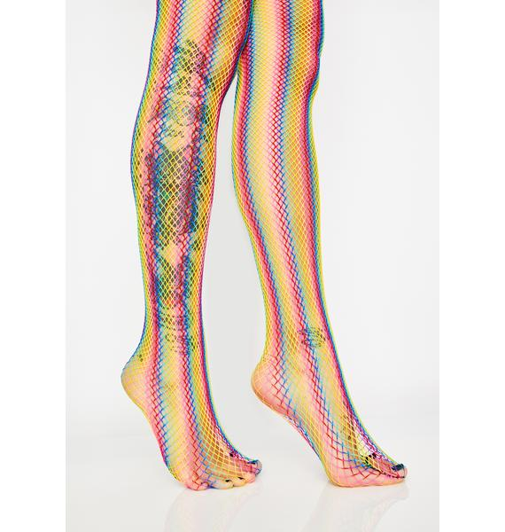 Wild For The Night Rainbow Fishnet Tights