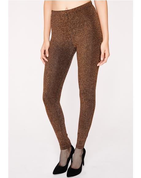 Gold Shock Ya Shimmery Leggings