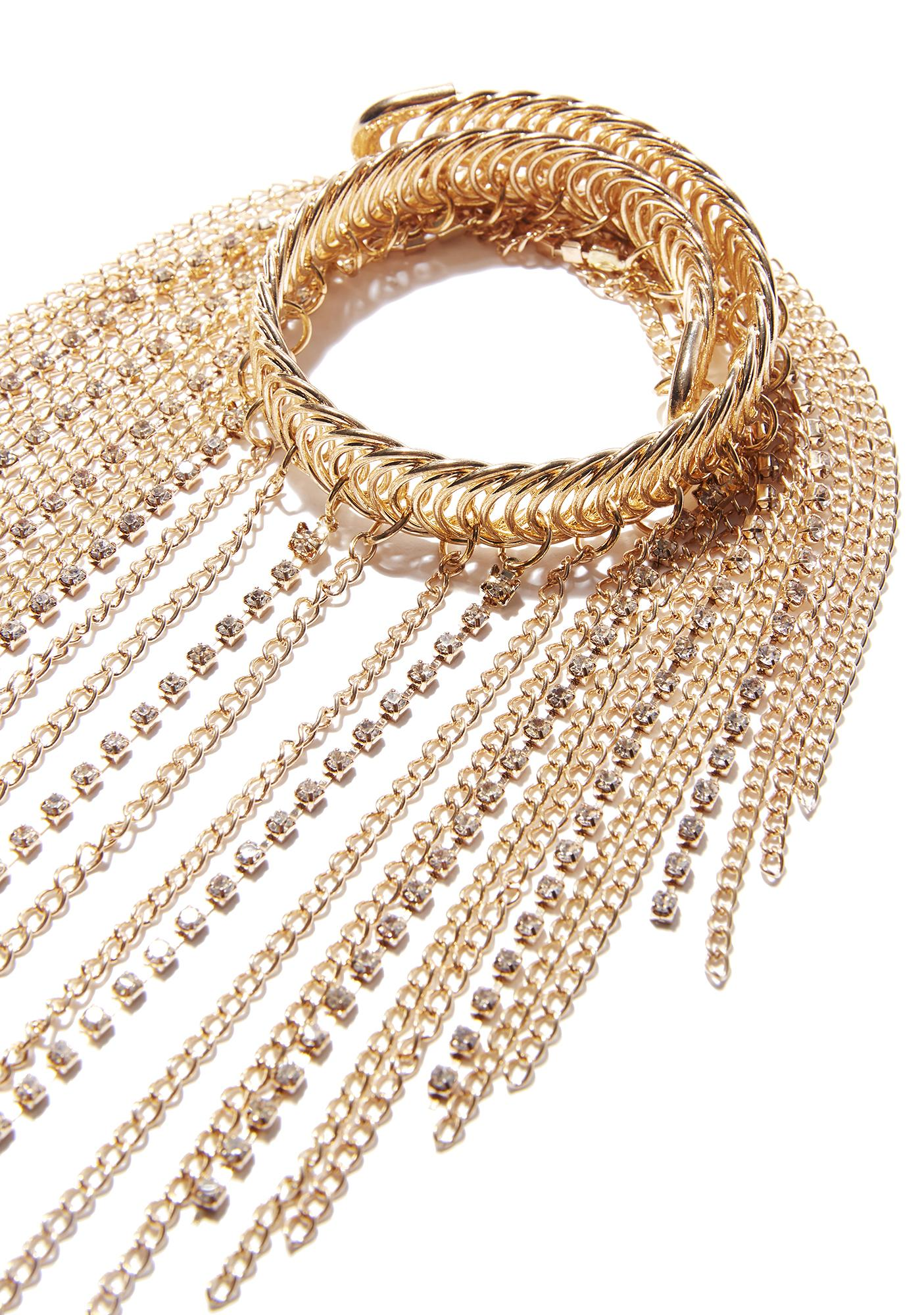 Gold Watch Out Chain Arm Band
