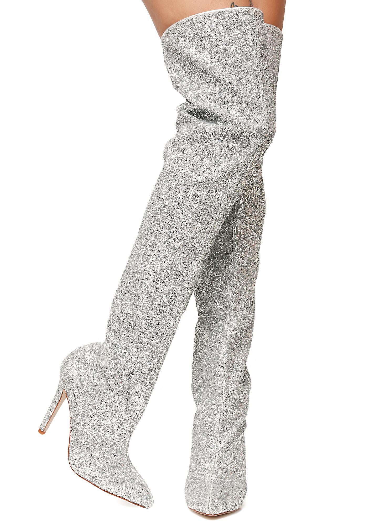 a624f7710ab Glitz N  Glamour Glitter Thigh-High Boots