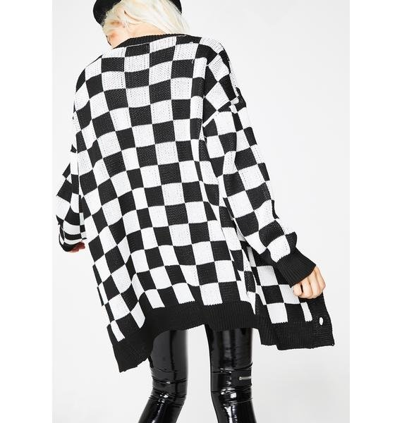 Current Mood Square Me Up Checkered Cardigan