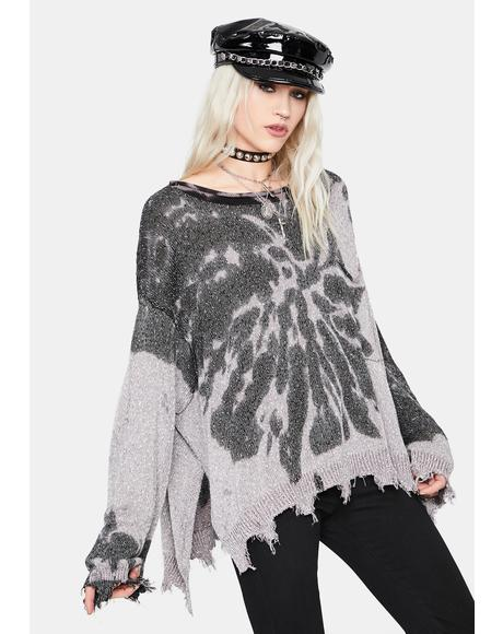 All Good Here Tie Dye Frayed Sweater