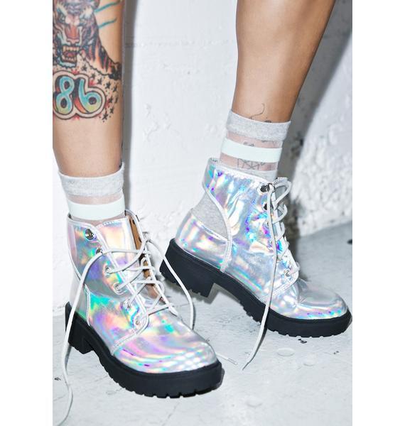 Holographic Kira Cutout Boots