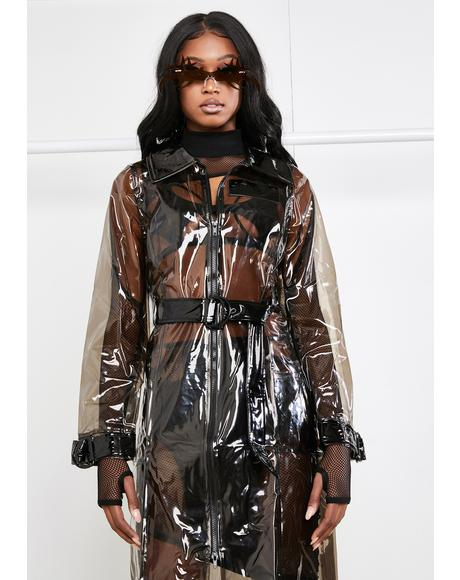 Clear PVC Trench Coat With Glitch Print
