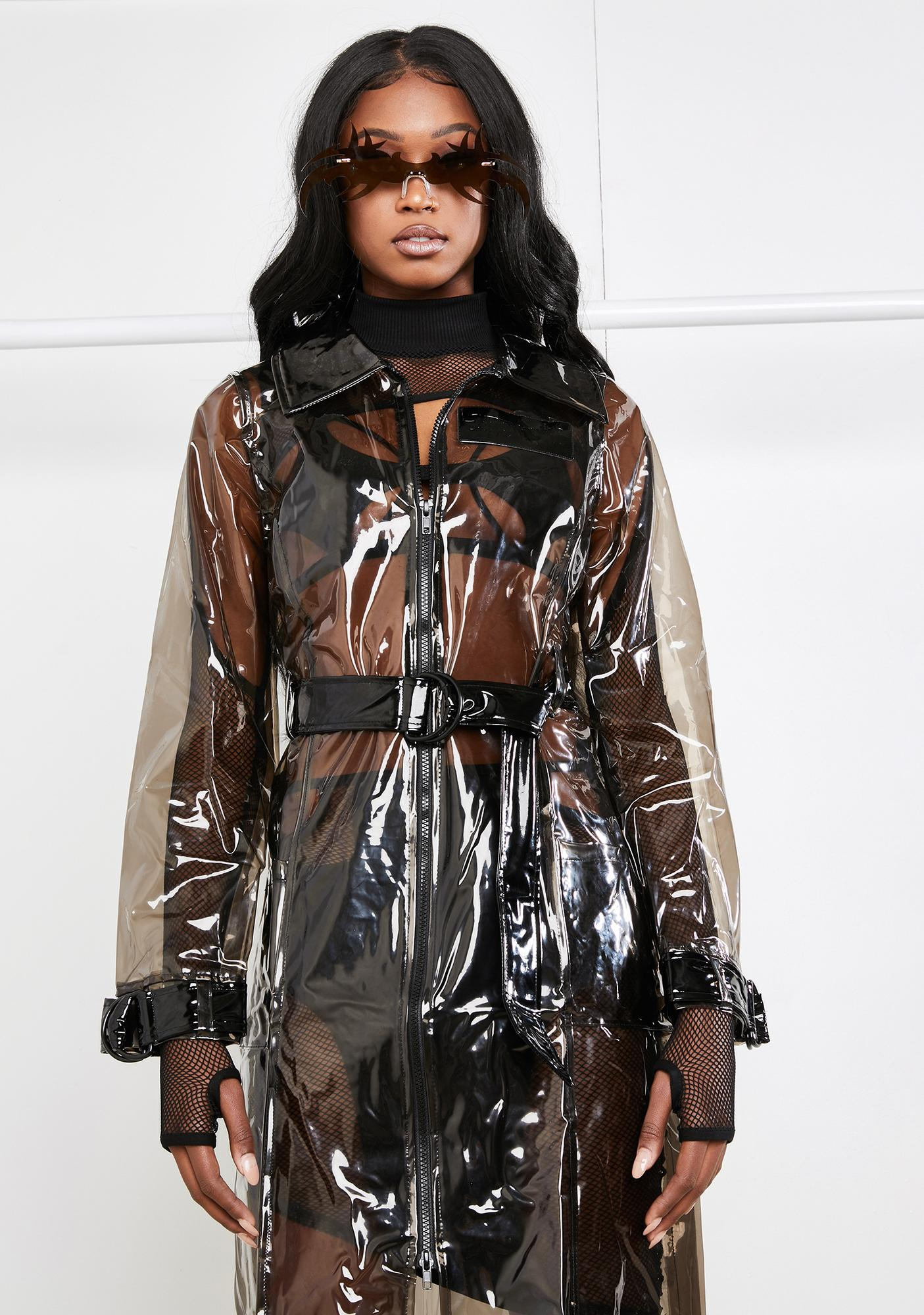 DARKER WAVS Clear PVC Trench Coat With Glitch Print