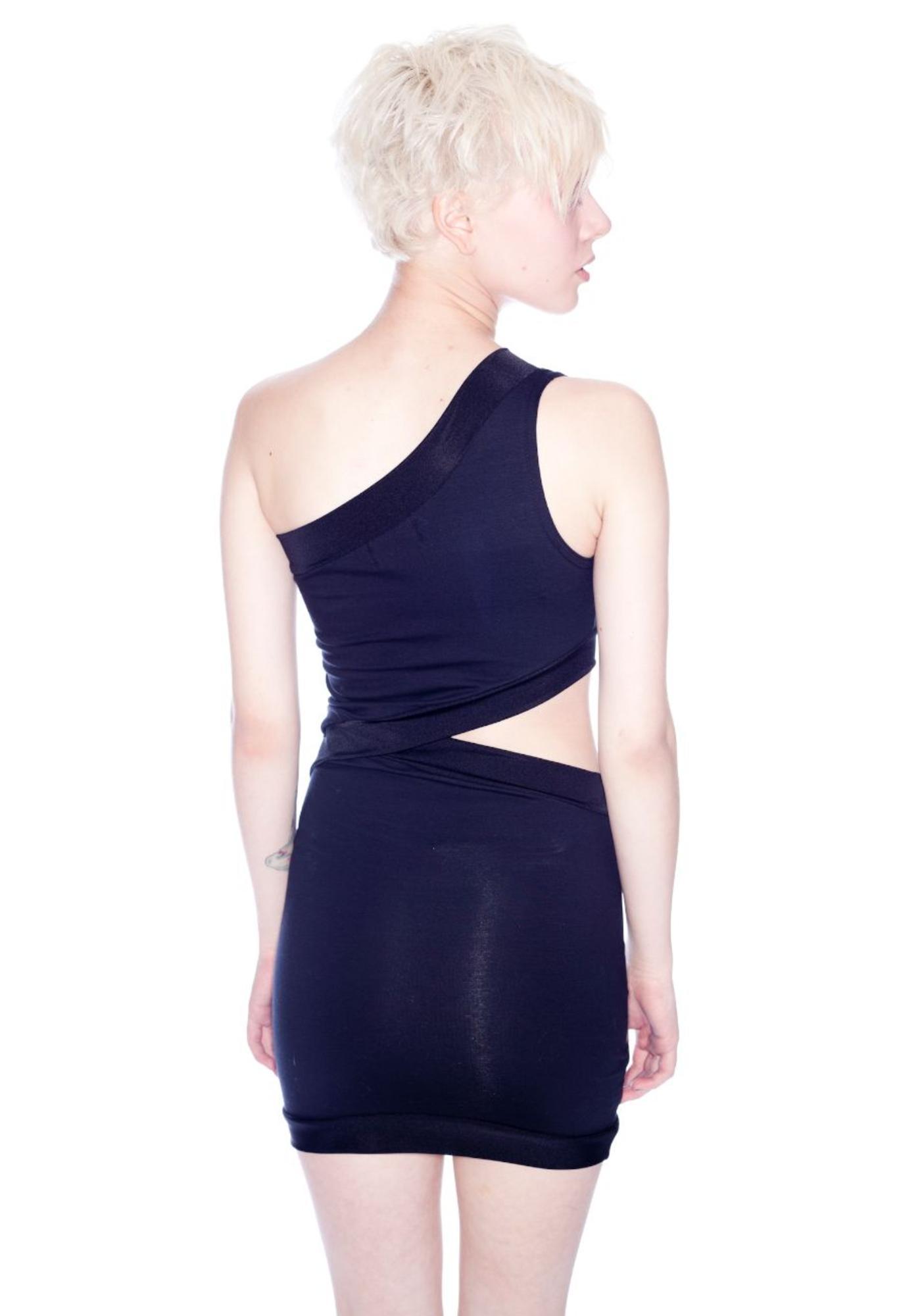 Black Diagonal Cutout Dress