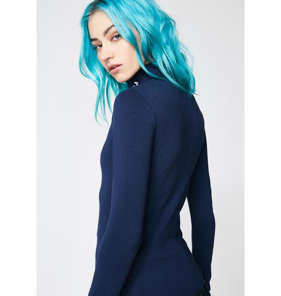 Current Mood Ruined Mock Neck Top