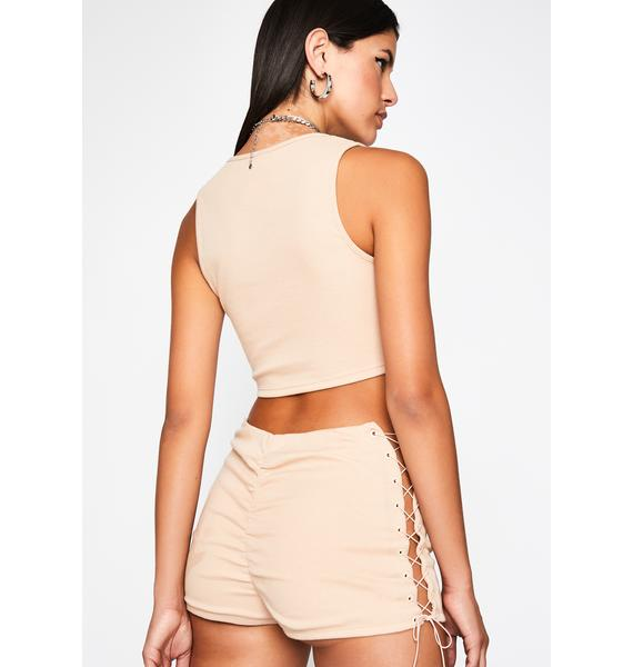 Natural Strings Attached Shorts Set