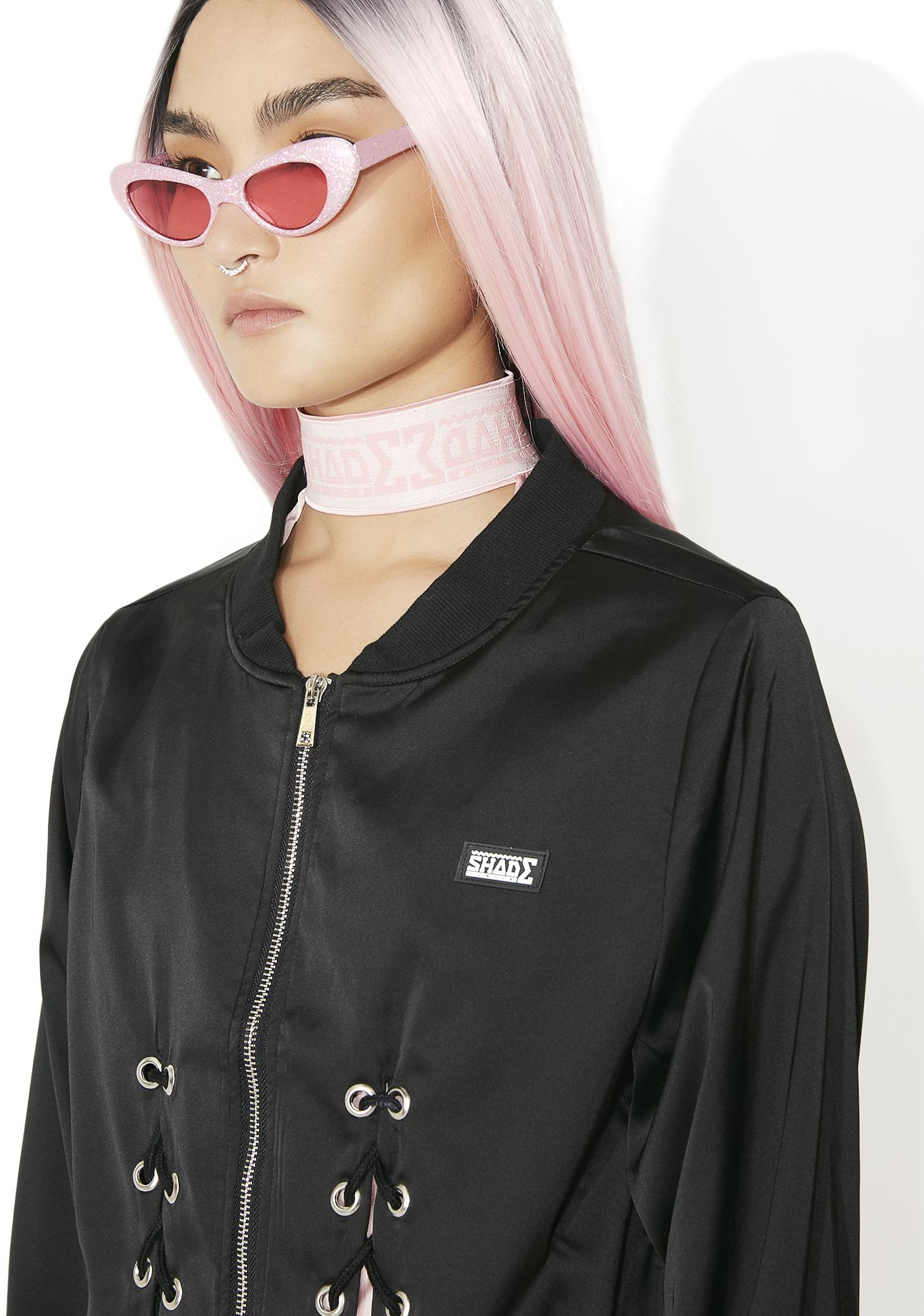 Shade London Lace Up Silky Bomber