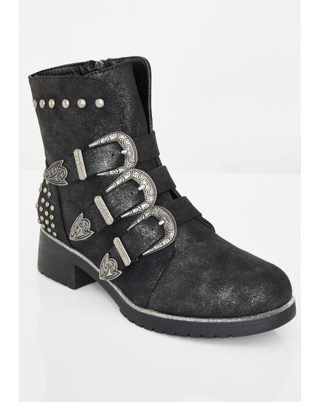 Black Parade Buckle Boots