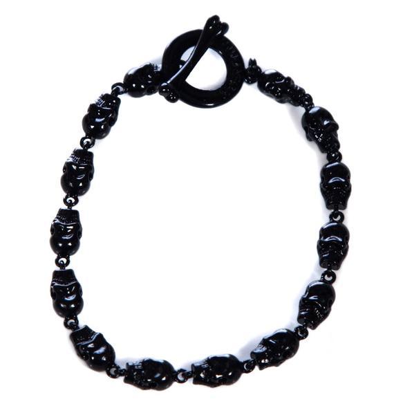 Wildfox Couture Black Hematite Mini Skull Bracelet