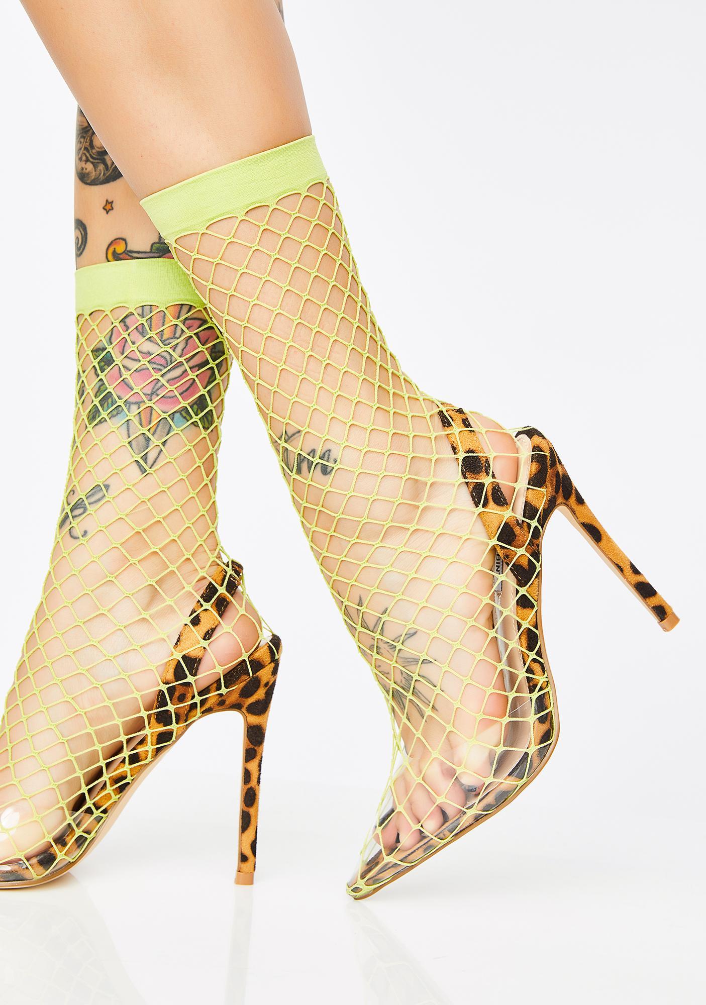 baf5fc5b1c Fishnet Sock Pointed Toe Heels Green | Dolls Kill