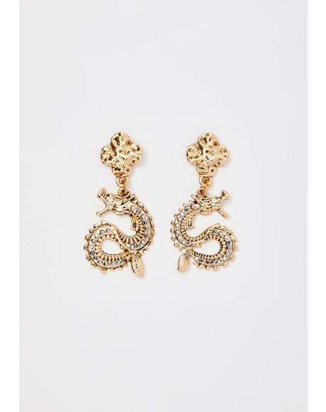 Endless Luck Dragon Earrings