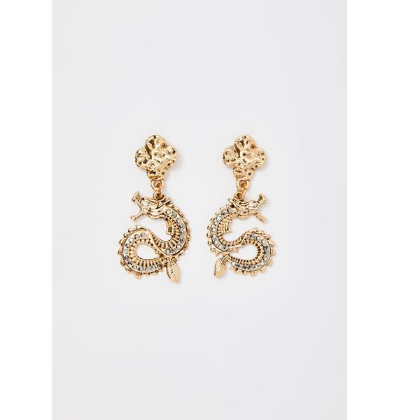 Endless Luck Dragon Earrings