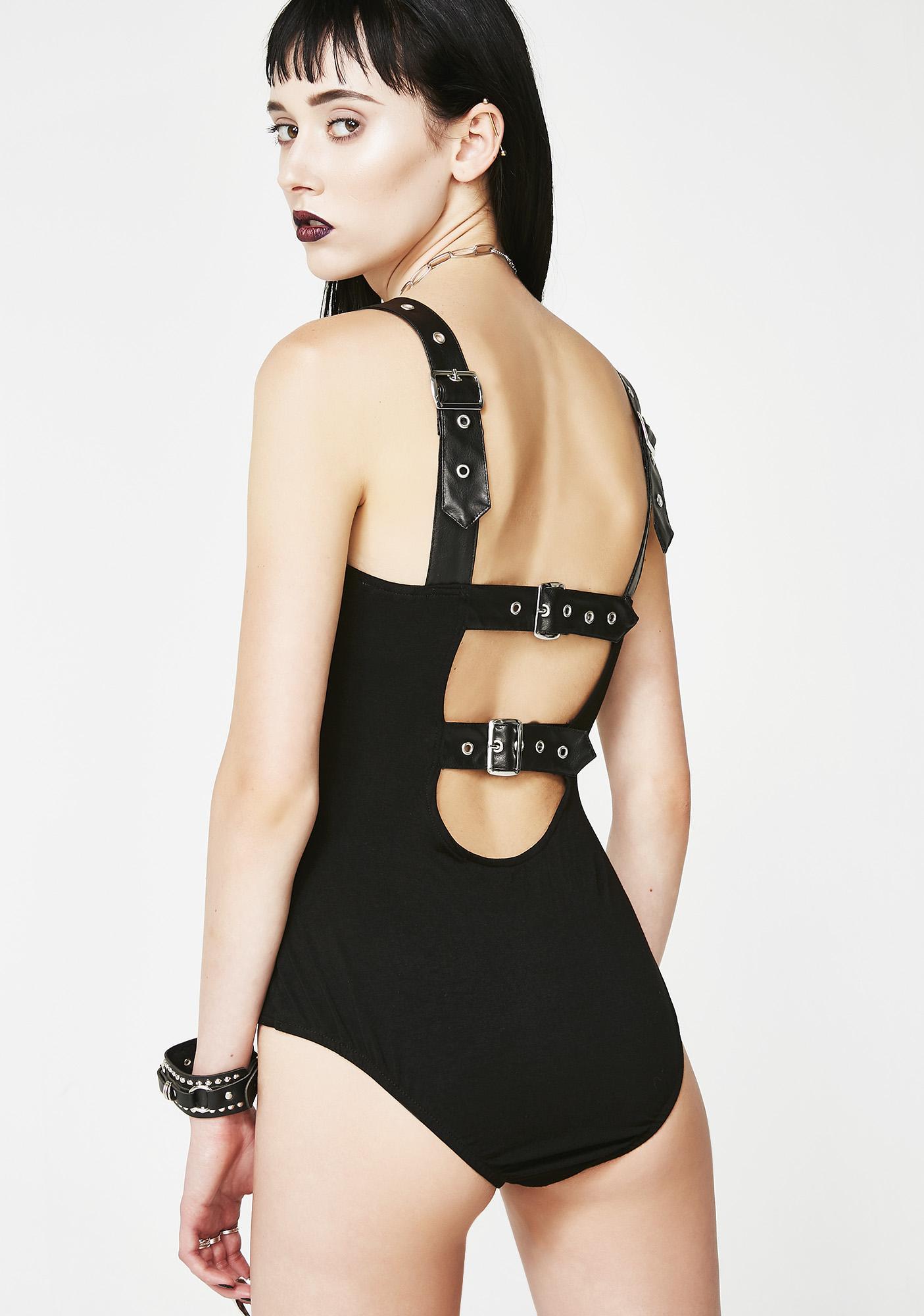 3e2f1298d4 Necessary Evil Leda Strap Buckle Bodysuit | Dolls Kill