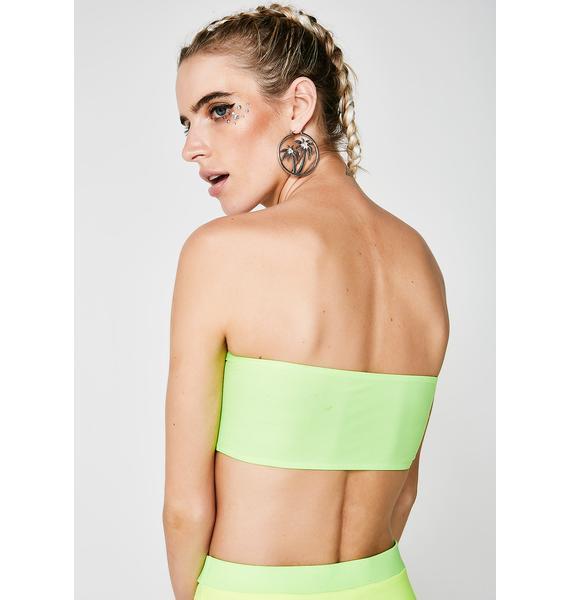 Jaded London Toxic Slogan Bandeau Bikini Top