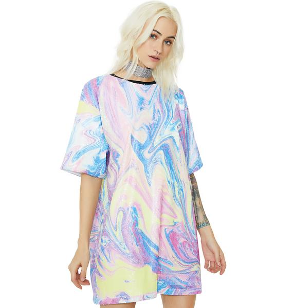 Jaded London Printed Sequin Oversized T-Shirt Dress