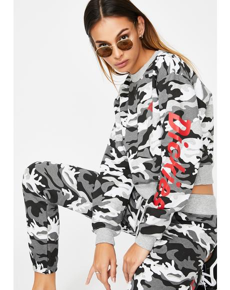 Grey Camo Cropped Sweatshirt
