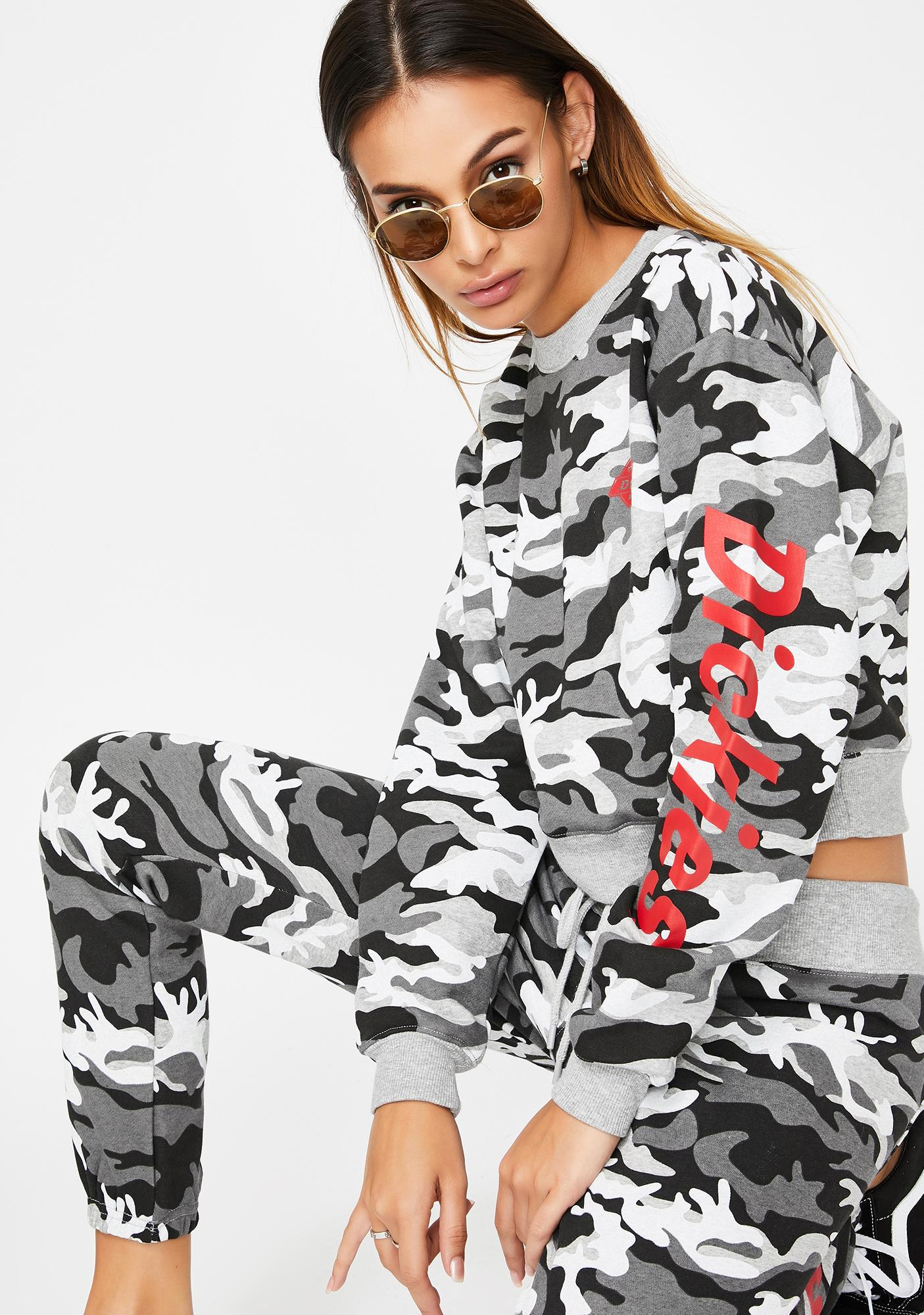 Dickies Girl Grey Camo Cropped Sweatshirt