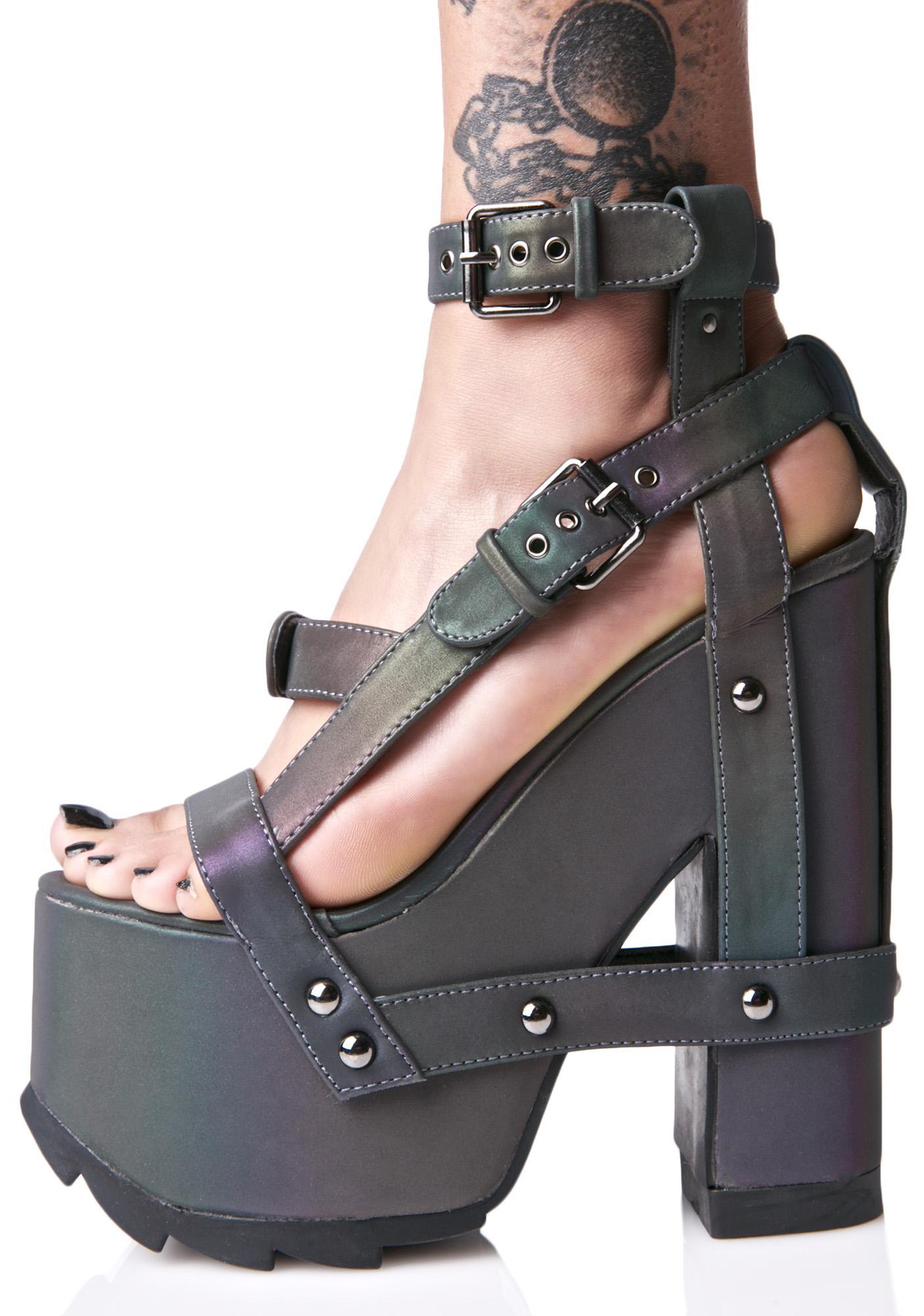 Y.R.U. Nightcall Reflective Platform Heels
