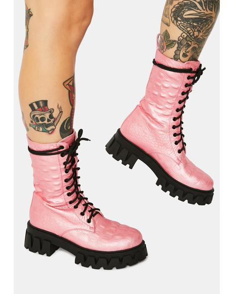 Fontane Pink Croc Combat Boots